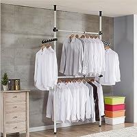 Garment Rack, 2 Stangen 2 Bars Teleskop Kleiderbügel Kleidung Kleiderschrank Kleiderstange Rack Ständer Regalen, 60 kg laden
