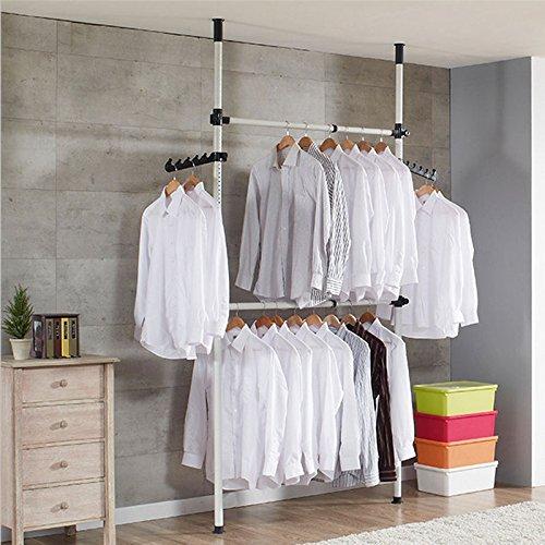 Garment Rack, 2 Stangen 2 Bars Teleskop Kleiderbügel Kleidung Kleiderschrank Kleiderstange Rack Ständer Regalen, 60 kg laden (Rack, Kleidung Ständer)