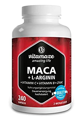 Maca Root Capsules Super Strong 4000 mg + L-Arginine 1800 mg + Vitamins + Zinc, 240 capsules for 2 month supply