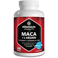Maca Kapseln hochdosiert 4000 mg + L-Arginin 1800 mg + Vitamine + Zink, 240 Kapseln für 2 Monate, Qualitätsprodukt-Made-in-Germany jetzt zum Aktionspreis und 30 Tage kostenlose Rücknahme! 1er Pack (1 x 206,4 g)