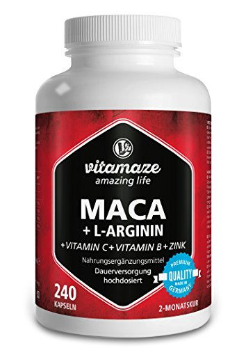 Maca Kapseln hochdosiert 4000 mg + L-Arginin 1800 mg + Vitamine + Zink, 240 Kapseln für 2 Monate, Qualitätsprodukt-Made-in-Germany -