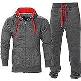 BE JEALOUS Herren Essentials Contrast Trainingsanzug Fleece Kapuzenpullis Jogginghose Jogginghose Gym Set (2XL, Dunkelgrau/Rot)