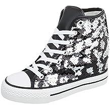 46b8299c5c5c88 Ital-Design Sneakers High Damenschuhe High-Top Keilabsatz Wedge Keilabsatz  Schnürsenkel Freizeitschuhe