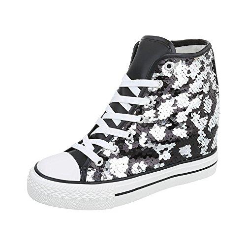 Ital-Design Sneakers High Damen-Schuhe High-Top Keilabsatz/Wedge Keilabsatz Schnürsenkel Freizeitschuhe Schwarz Silber, Gr 37, Dd17P-