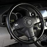 FINCOS Universal Anti-Slip Breathable PU Leather DIY Car Steering Wheel Cover Case with Needles and Thread Ship