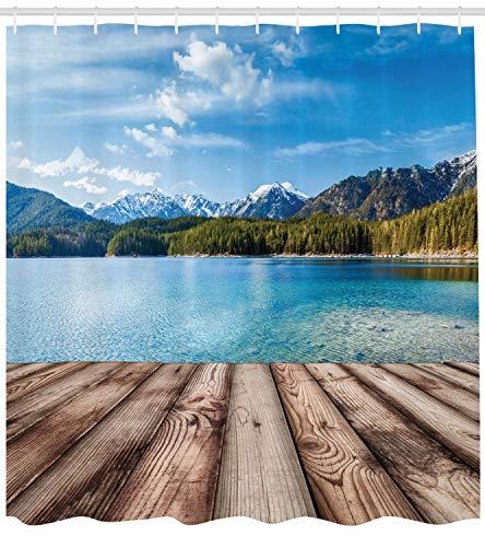ABAKUHAUS Nautisch Duschvorhang, See Wald Berg, mit 12 Ringe Set Wasserdicht Stielvoll Modern Farbfest und Schimmel Resistent, 175x240 cm, Braun Blau