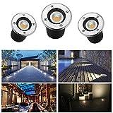 Faretto a LED da incasso a pavimento, 230 V, per esterni, IP65, da giardino, bianco freddo, 3x3W/Rund