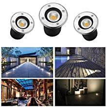 LED Buried Light 3W Natural White 270LM LED Recessed Underground Light Round 230V AC IP65 LED Garden Lighting LED Recessed Decking Light 45° Outdoor Lighting Pathway Lighting(Pack of 3)