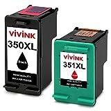 VIVINK Remanufactured per HP 350 351 Cartucce d'inchiostro 350XL 351XL Compatibile per HP Photosmart C4480 C4280 C5280 C4580 C5200 C4270, Officejet J5780, Deskjet D4260 (1 Nero, 1 Colore)