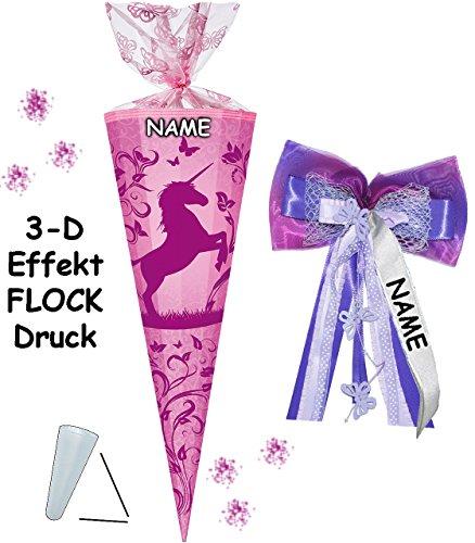 alles-meine.de GmbH 3-D Effekt - Flock _ ! - Schultüte -  Einhorn & Blumenranken / Soft Touch - SAMT Flockdruck  - 70 cm - rund - incl. Name und individueller großer 3-D Effekt.. -