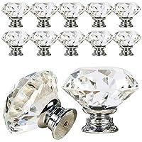 VIPMOON 12PCS 30 mm Boutons de porte à diamant clair avec vis, poignée de tiroir à armoire en cristal