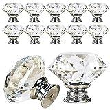 VIPMOON 12PCS 30 mm Boutons de porte à diamant clair avec vis, poignée de tiroir à...