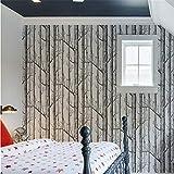 Tapeten Wandbild Hintergrundbild Schwarze Weiße Birken-Baum-Tapete Für Schlafzimmer-Modernes Design-Wohnzimmer-Wand-Papierrollen-Rustikaler Forest Woods Wallpapers