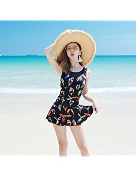 HAIYOUVK Couples Swimwear Women'S Beach Suit Steel Support Small Chest Gathered Conservative Boxer Conjoined Skirt...