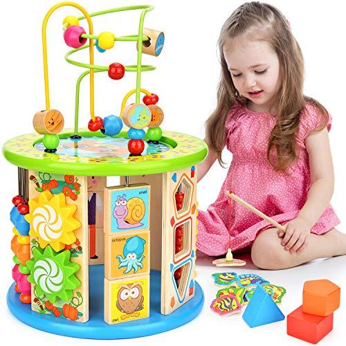 Dkinghome Aktivitätswürfel Holz 10 in 1 Motorikwürfel Perlen-Labyrinth Holz Spielcenter Kleinkinder Spielzeug Mehrzweckspielzeug Geschenke für Kinder Holzspielzeug