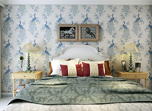 SDKKY Bestickte Pfau-wie Chinesische klassische Southeast Asian wallpaper Schlafzimmer Wohnzimmer Sofa TV Wand Vliestapeten, blau Dekorative Wandpapier (Asian Sofa)