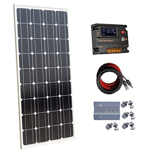 Ecoworthy monocristallin 60W 100 W 12 V Panneaux solaires kit + 20 A contrôleur de charge pour batterie de 12 volts Hors-réseau Système (100W Panneaux solaires kit)