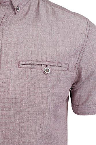 Tokyo Laundry - Chemise Homme Manches courtes avec bouton Rouge Acajou