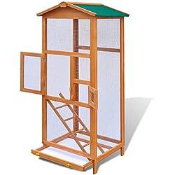 Festnight Jaula para Pájaros Grande Madera Resistente a la Intemperie 65x63x165 cm