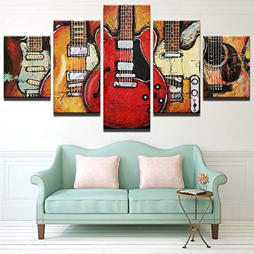 mmwin Modern Canvas HD Pictures Living Room Decor 5 Pezzi Abstract Guitar Music Poster Stampato Modulare Wall Art Lavoro