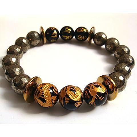 Naturale sfaccettato Pirite rotondo agata tibetano 6parole Drago preghiera pietra braccialetto di energia amuleto Confezione Regalo