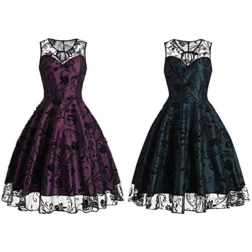 iShine elegante Kleider Damen Festliche Knielang A-Linie Kleider Ärmellos Retro Vintage Kleid Partykleid Cocktailkleid Grün/B