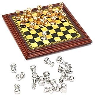 ARUNDEL SERVICES EU Maßstab 1:12 Miniatur-Metallschachspiel Puppenstuben-Zubehör Schachset Miniatur