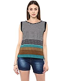 Jaipur Kurti Women's Stripes And Zick Zack Print Black Colour Top