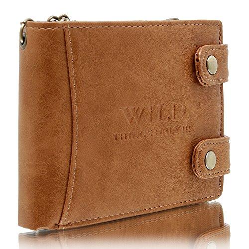 Herren - Brieftasche in horizontaler Ausführung mit Kette Geldbörse WILD THINGS ONLY (camel) camel