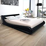 Festnight Bett Doppelbett Bettgestell Bettrahmen Kunstlederbett Gästebett mit 160x200 cm Matratze Schwarz