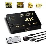 Switch HDMI Supporto HDCP 1080P Mini 3in 1out intelligente 4porte 4K HDMI Audio Switcher selettore Splitter amplificatore adattatore con telecomando IR compatibile con 4K Ultra HD Risoluzione per Mac PC Xbox TV nero 3 in 1 HDMI switch with a IR remote
