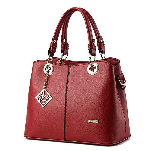 HQYSS Borse donna Dolce signora atmosferica moda PU pelle donne sezione verticale tracolla Messenger Handbag , days blue wine red
