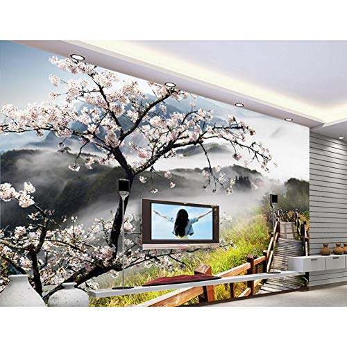 Pfirsich-schaum (DACHENZI Anpassen 3D Tapete Pfirsich Holz Brücke 3D Wandmalereien Wand Papier Schlafzimmer Wohnzimmer Tv Hintergrund Tapete Moderne)