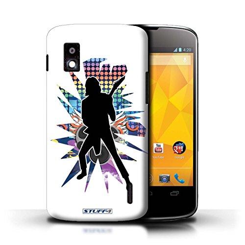 Kobalt® Imprimé Etui / Coque pour LG Nexus 4/E960 / Chanteur Noir conception / Série Rock Star Pose Solo Blanc