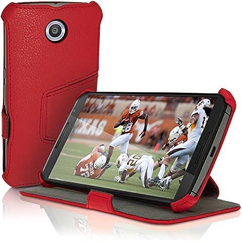 igadgitz Premium Rojo PU Cuero Funda Folio Carcasa para Motorola Google Nexus 6 XT1100 XT1033 Piel Case Cover con Soporte + Auto Sleep/Wake + Protector Pantalla