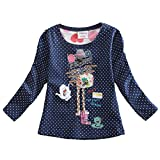 VIKITA Mädchen Langarm Baumwolle T-Shirt Top 1-6 Jahre F2101Marineblau 3T