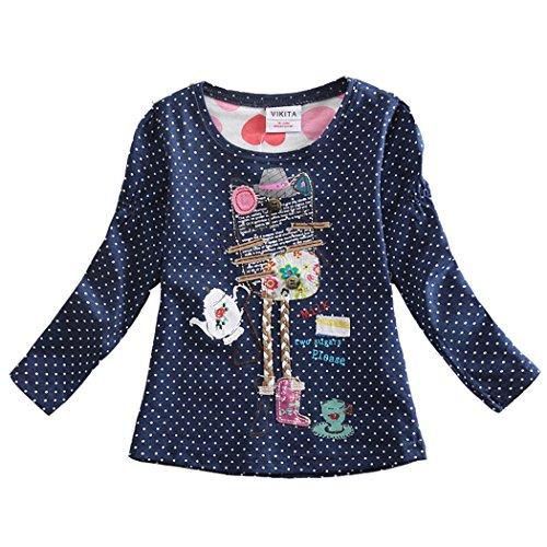 VIKITA Mädchen Langarm Baumwolle T-Shirt Top 1-7 Jahre F2101Marineblau 3T -