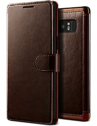 VRS Design Samsung Galaxy Note 8 Case, Premium Leather Folio Case Flip Wallet Cover [Brown] Classic Leather | with 3 Card Slots Phone Case [Layered Dandy] for Galaxy Note