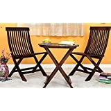 NEW LOOK DECOR 3 Piece Dining Set Cappuccino Folding Chair And Round Table (Walnut Finish)
