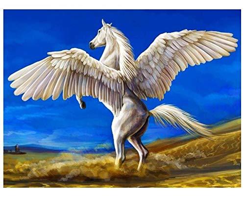 HNZZLC Digitale Malerei DIY Leinen Leinwand Set Schlafzimmer Gast Restaurant Büro Dekoration Erwachsene Zeichnung Acryl Flügel Hübsches Weißes Pferd 40X50 cm - Antik Weiß Schlafzimmer-set