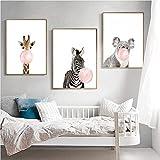 Nordic Ideas Set de 3 Posters Animaux Girafe Zèbre Koala Affiches Decoration Chambre Bebe Tableau Enfants Décorations Murales Impression sur Toile sans Cadre PTAN003-S