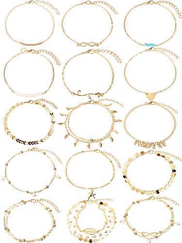 kettchen Ketten Armbänder Einstellbar Strand Fußkettchen Fußschmuck Set für Damen Mädchen (Gold) ()