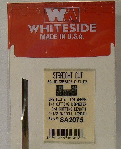 Whiteside Router Bits SA2075 O-Flute with Straight Bit with Solid Carbide 1/4-Inch Cutting Diameter and 3/4-Inch Cutting Length by Whiteside Router Bits