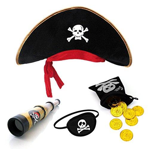 papapanda Piratenhut Augenklappe Karibik Fernrohr Gold Münzen Schatzbeutel -