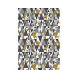 Liumiang Drapeau Eco-Friendly Manual Custom Garden Flag Demonstration Flag Game Flag,Grey and Yellow,Zig Zag Triangles Futuristic Design with Gold Details,Marigold Charcoal Grey and Whitearden décor