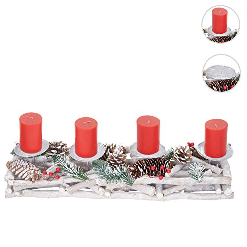 Adventskranz länglich, Weihnachtsdeko Adventsgesteck, Holz 11x15x50cm weiß-grau ~ mit Kerzen, rot