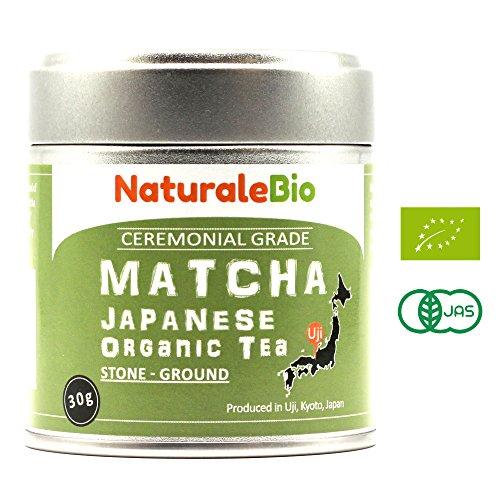 Organic Matcha Green Tea Powder [Ceremonial Grade] | Organic Japanese Tea Produced in Uji, Kyoto | Ideal for Drinking, Cooking and with Milk | 30 gr Tin | NATURALEBIO