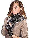YISEVEN Damen Touchscreen Schaffell Lederhandschuhe mit Warm Gefüttert Elegant Winter Leder Autofahrer-Handschuhe, Schwarz XXL/8.5
