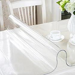 RAIN QUEEN Imperméable imprimé Nappe Film PVC 1mm Epais Cristal Anti-Tache Protège Table Meuble pour Cuisine Restaurant (80 * 140 * 1cm, Transparent)