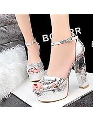 CBIN&HUA Zapatos de mujer-Tacón Robusto-Punta Abierta / Plataforma-Sandalias-Boda / Vestido / Fiesta y Noche-Cuero-Negro / Rojo / Plata / Oro / , golden , us8 / eu39 / uk6 / cn39
